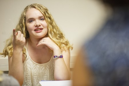 Undergraduate woman in class